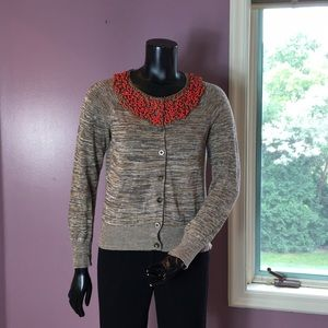 Anthropologie Moth Brown Sweater with Red Beads